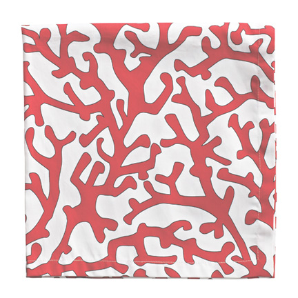 Printed Coral Branch Napkins - White/Coral, Four