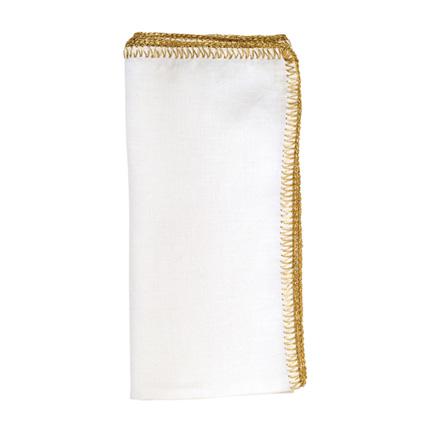 Crochet Edge Napkins - White/Gold, Four