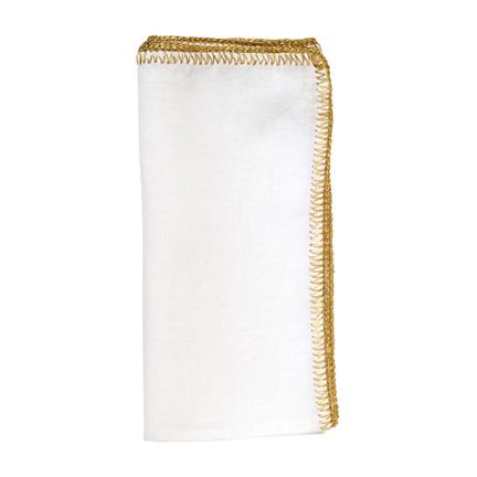 Crochet Edge Napkins - White/Gold