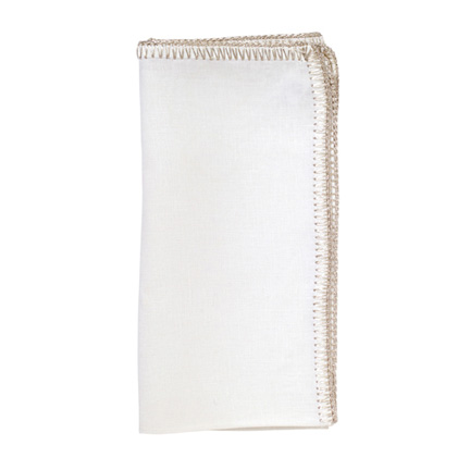 Crochet Edge Napkins - White/Silver, Four