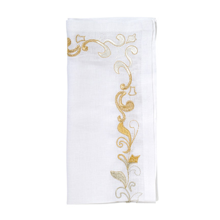 Brocade Border Napkins - White/Gold/Silver, Four