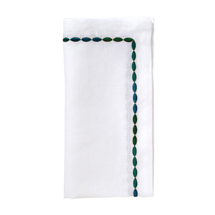 Corded Ombre Napkins - White/Emerald, Four