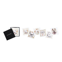 Dog Portrait Cocktail Napkins White/Multi (Set of 6)