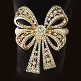 Antique Bowtie Gold Napkin Rings - Four