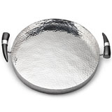 Mary Jurek Orion Round Tray with Buffalo Horn Handles | Gracious Style Official Retailer
