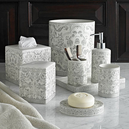Kassatex orsay grey bath accessories gracious style for Grey toilet accessories