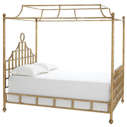 Pine cone hill atlas queen canopy metal bed gold finish for Gold canopy bed frame