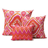 Kim Seybert Ikat Fuchsia/Orange Throw Pillows | Gracious Style