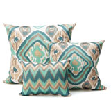 Kim Seybert Ikat Seafoam/Taupe Throw Pillows | Gracious Style