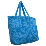 Royal Damask Aqua Marine Terry Tote Bag by Fresco | Gracious Style