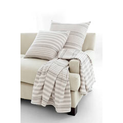 Rugby Stripe Platinum Woven Cotton Throw | Gracious Style