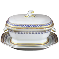 Chinoise Blue Octagonal Soup Tureen W/Stand 4 Qt | Gracious Style