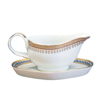 Chinoise Blue Gravy Boat W/Stand 7 In | Gracious Style