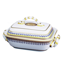 Chinoise Blue Covered Vegetable Dish 6.5 X 11 In | Gracious Style