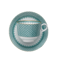 Green Lace Tea Cup & Saucer 3.5 in | Gracious Style