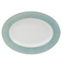 Green Lace Oval Platter 15 in | Gracious Style