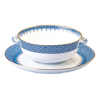 Blue Lace Cream Soup Cup & Saucer 4 in | Gracious Style