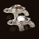 Turtle Salt and Pepper Shakers Swarovski Crystals | Gracious Style