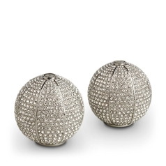 Pave Sphere Platinum Salt & Pepper Shakers