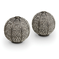 Pave Sphere Noir Salt & Pepper Shakers