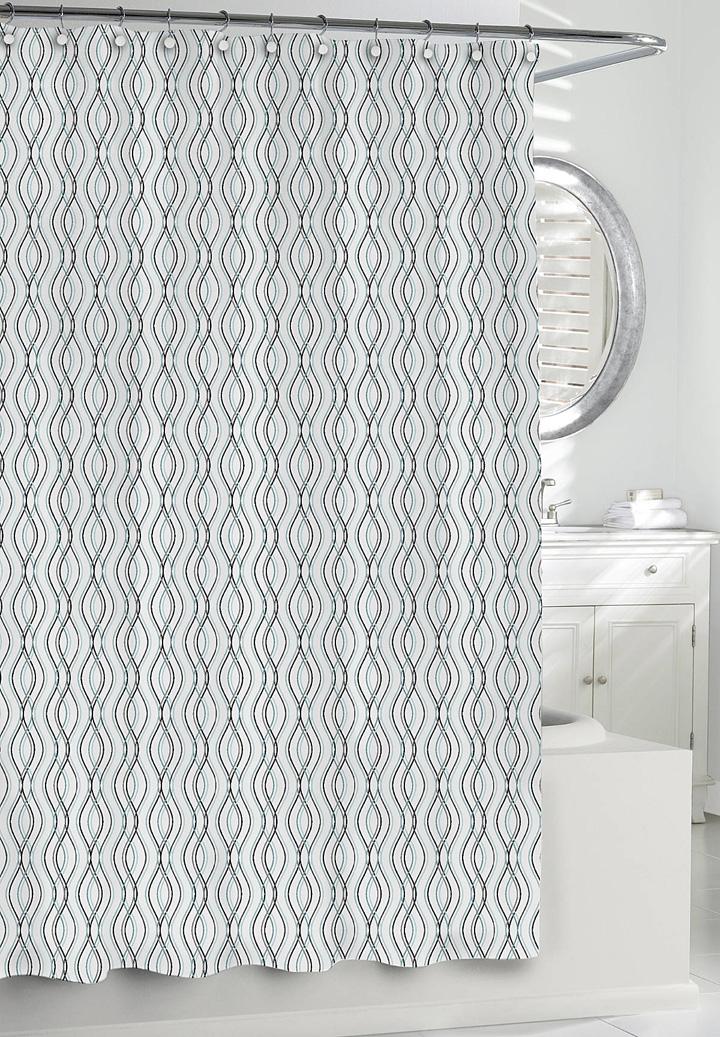 Kassatex Wavy Stripe Shower Curtain Blue/Grey  Gracious Style
