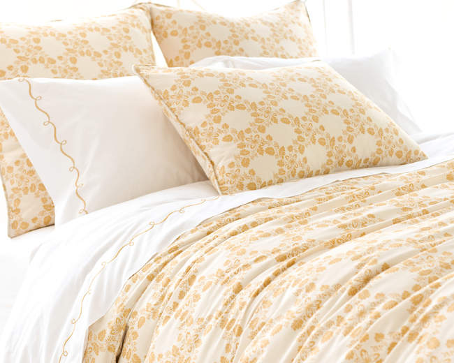 Pine Cone Hill Trellis Damask Gold Duvet Cover Gracious