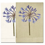 Anali Linen Hand Towels with Embroidered Agapantha Flowers | Gracious Style