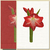 Amaryllis Embroidered Linen Hand Towels | Gracious Style