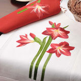 Amaryllis Anali Holiday Embroidered Linens Napkins Placemats | Gracious Style