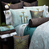 Beach Palm Blue Embroidered Bedding by Anali | Gracious Style