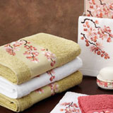 Blossom Embroidered Bath Towels in Pink, Red, White  | Gracious Style