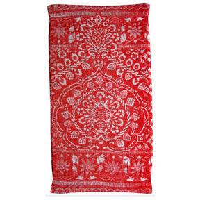 Bohemian Damask Red Cotton Bath Towels by Fresco | Gracious Style