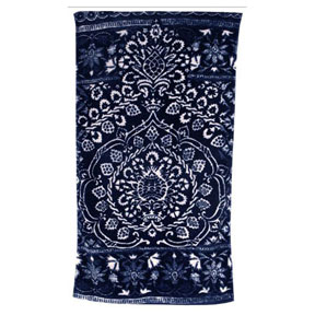 Bohemian Damask Royal Blue Cotton Bath Towels by Fresco | Gracious Style
