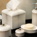 Celeste China Bath Accessories Jar Soap Dish Tumbler Waste Basket | Gracious Style