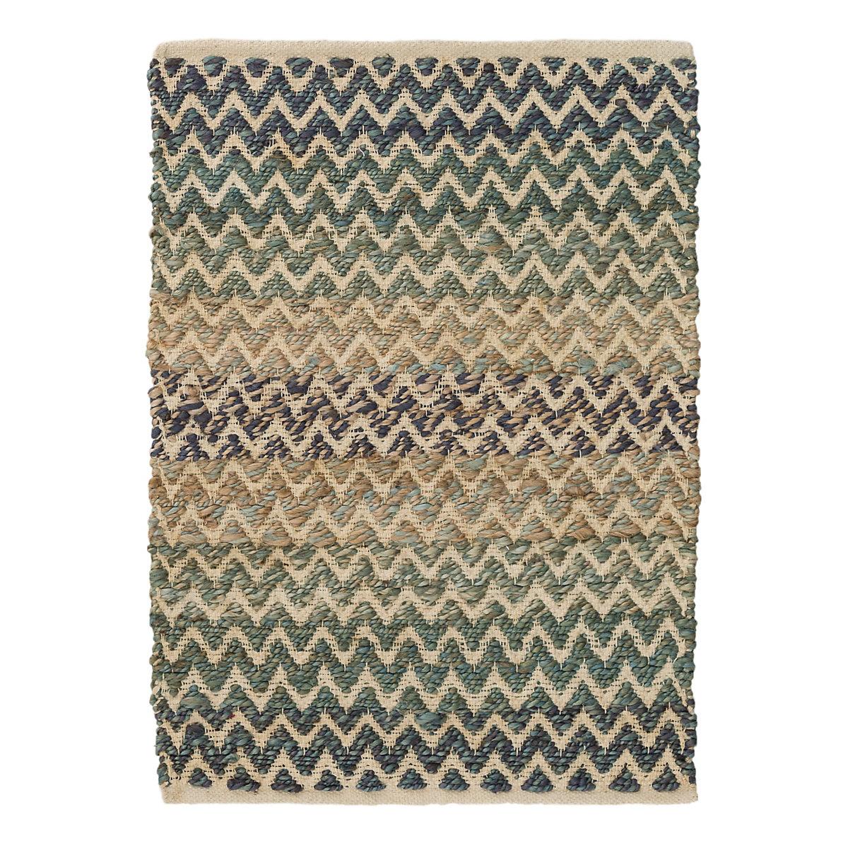 Gypsy Stripe Turquoise Grey Woven Cotton Rug: Dash & Albert Zig Zag Natural Micro Wool Hooked Rug