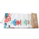 Kim Seybert Print and Embroidered Coral Linen Napkins | Gracious Style
