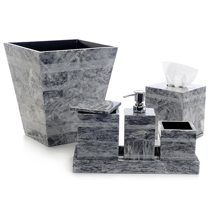 Kim seybert gray etched stone bath accessories gracious for Dark grey bathroom accessories