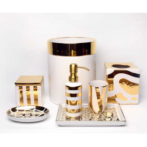 Ceramic bath accessories by waylande gregory gracious style for White and gold bathroom accessories
