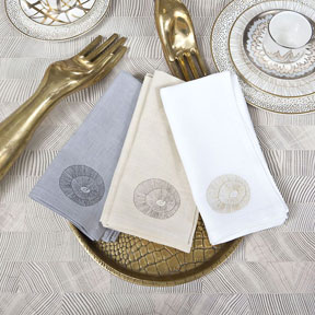 Hillcrest Embroidered Linen Napkins Serviettes | Gracious Style