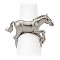 Horse Platinum Napkin Rings, Four