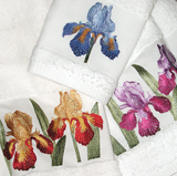 Iris Bath Towels Embroidered Cotton | Gracious Style