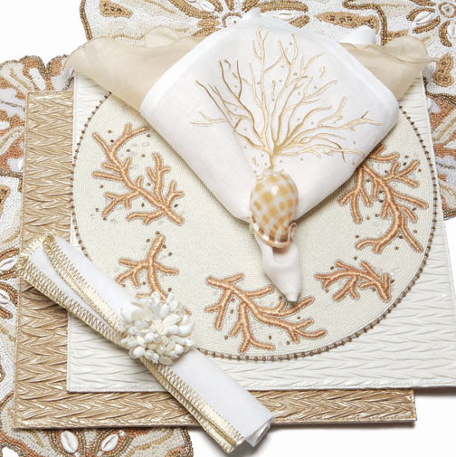 Kim Seybert Ivory Coral Beaded Placemat | Gracious Style