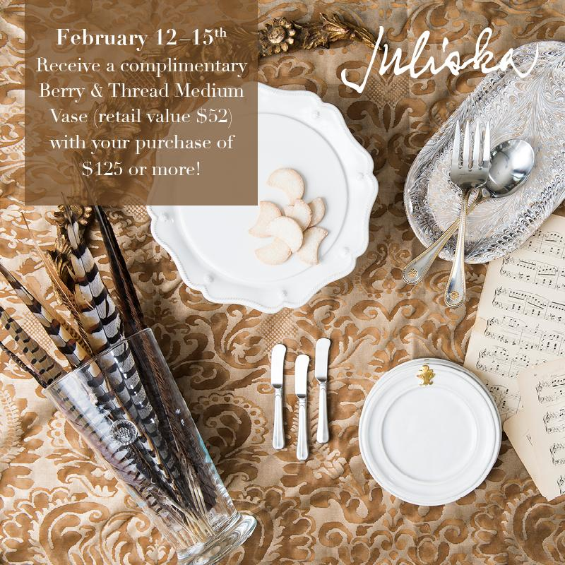 Free Vase With $125 Juliska Purchase: Feb 12 - 15