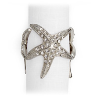 Starfish Platinum Napkin Rings - Four