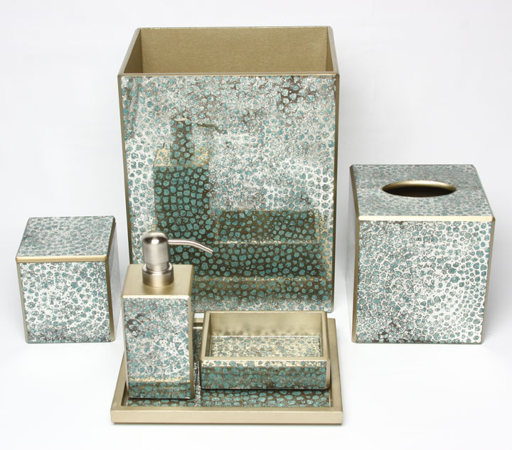 Mosaic aqua bath accessories by waylande gregory gracious for Aqua mosaic bathroom accessories