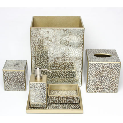 Mosaic metallic bath accessories by waylande gregory for Gold mosaic bathroom accessories