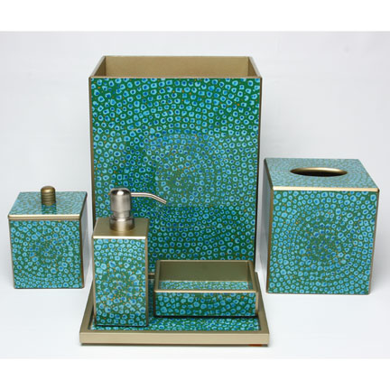 Projects to try on pinterest bath accessories bathroom for Blue and gold bathroom sets