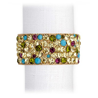 Pave Band Gold Multi Crystal Napkin Rings