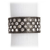 Pave Band Noir Crystal Napkin Rings