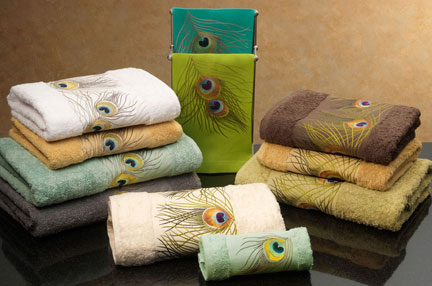 Peacock Embroidered Towels by Anali | Gracious Style